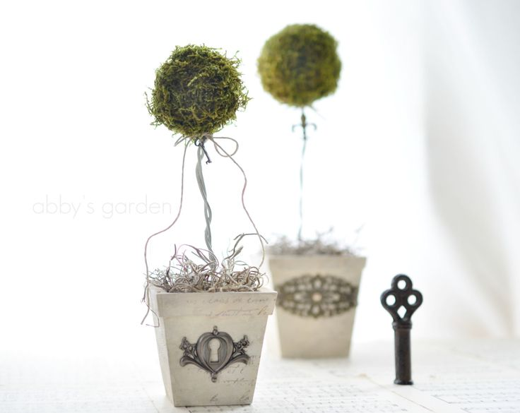 Reserved Listing Cottage Chic Moss Topiary от AbbysPaperieGarden