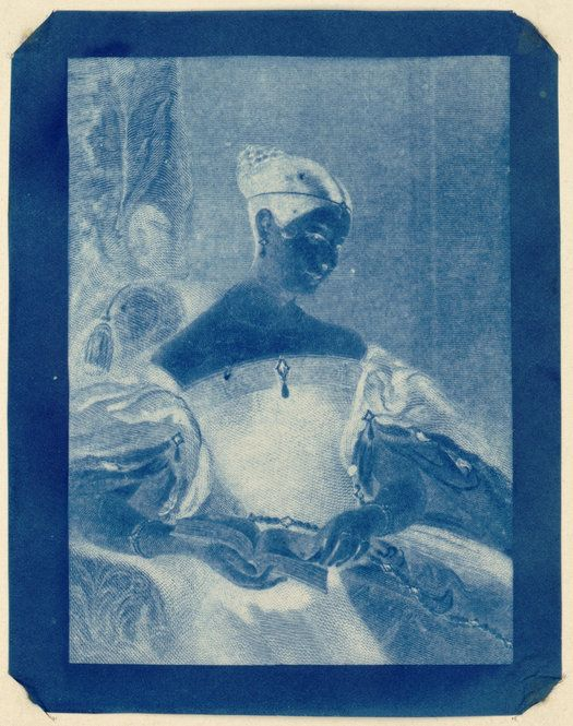 "Sir John Herschel. ""The Honourable Mrs. Leicester Stanhope,"" 1836. Cyanotype."