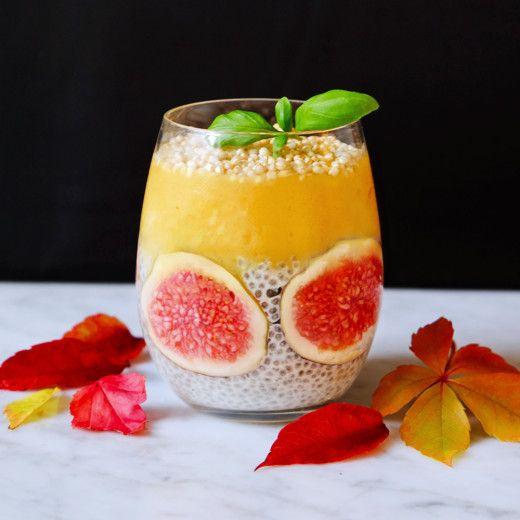 chia pudding with orange smoothie