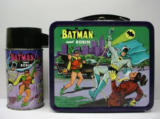 Vintage lunch box: Batman and Robin.  My older sister had this and it was passed down to me.  I don't know why she chose Batman!