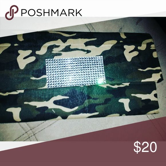 Custom camo clutch with rhinestones Custom clutch. Brandnew. Snap fastner. Bags Clutches & Wristlets