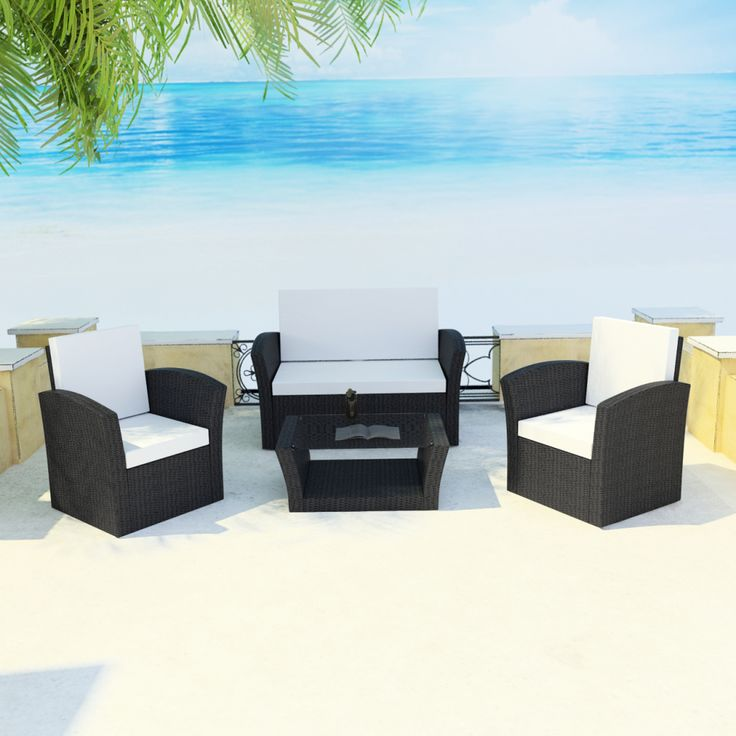 Black Outdoor Poly Rattan Lounge Set With Cushions