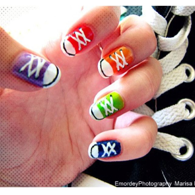 Converse nails! Hannah would love this. I think I could do it with one of those Sally Hansen nail pens.
