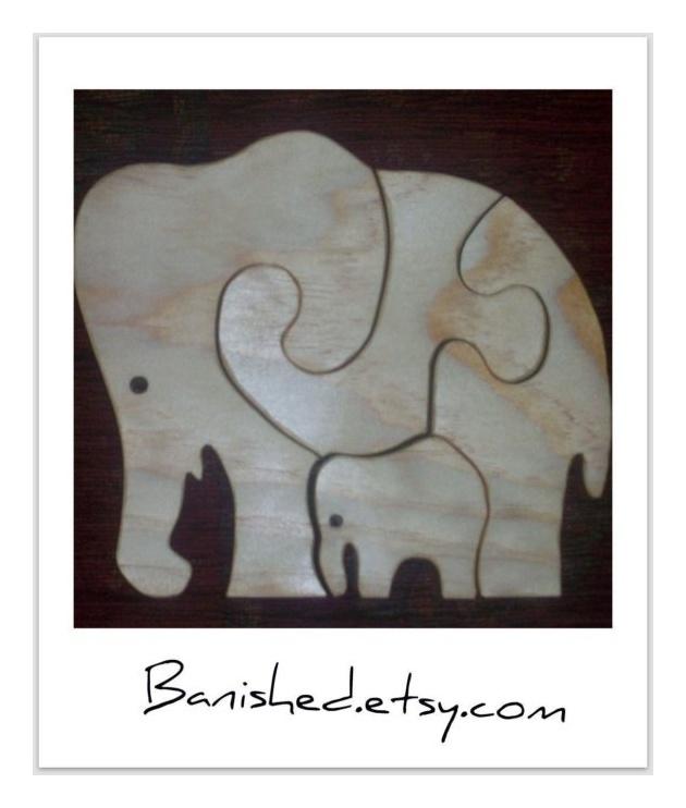 Wood Elephant puzzle by banished on Etsy, $10.00