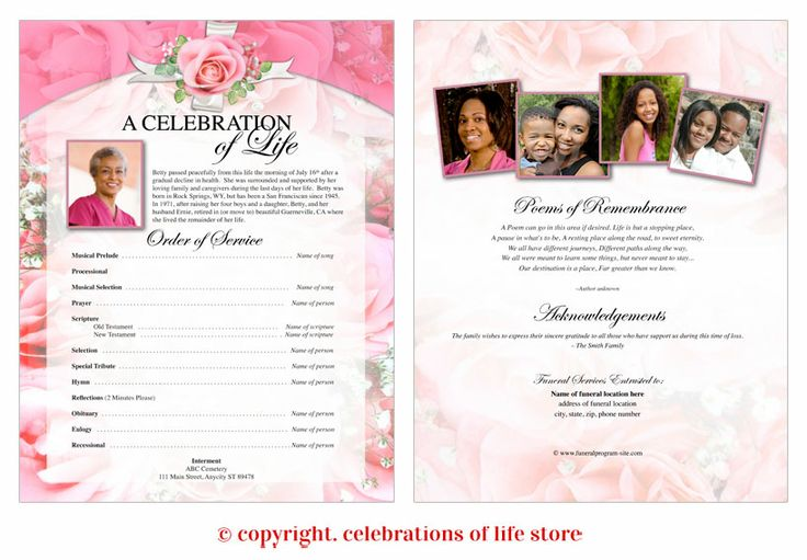 petals one page funeral flyer template
