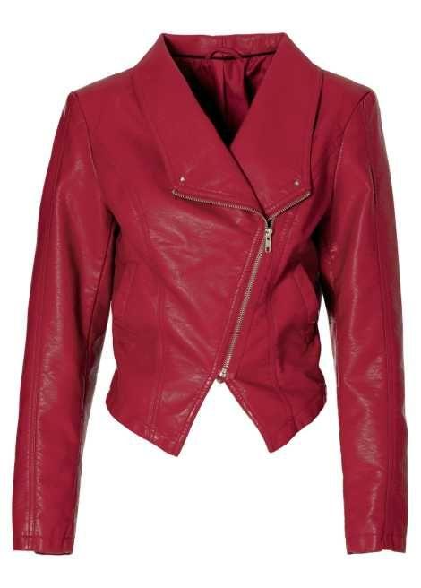 Veste simili cuir fille rouge