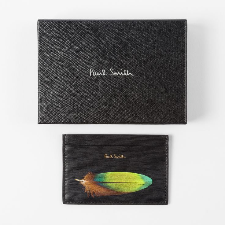 Paul Smith Men's Black 'Feather' Print Textured Leather Credit Card Holder