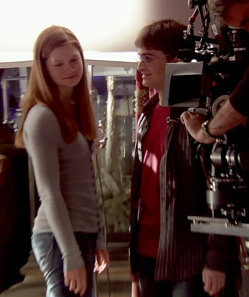Danielle Radcliffe & Bonnie Wright during the filming of Half-Blood Prince.