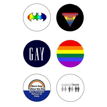 """Gay Symbols Support 6 Pcs Pinback 1.25\"""""""