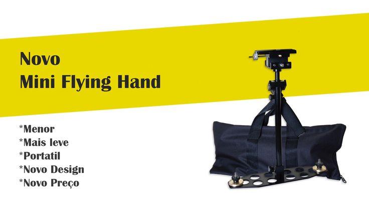 Steadycam Flying-hand, para câmeras compactas, Go Pro, Smartphones, iPhones. Todo em alumínio com base de engate rápido, plate compatível com algumas cabeças Manfrotto e Benro.