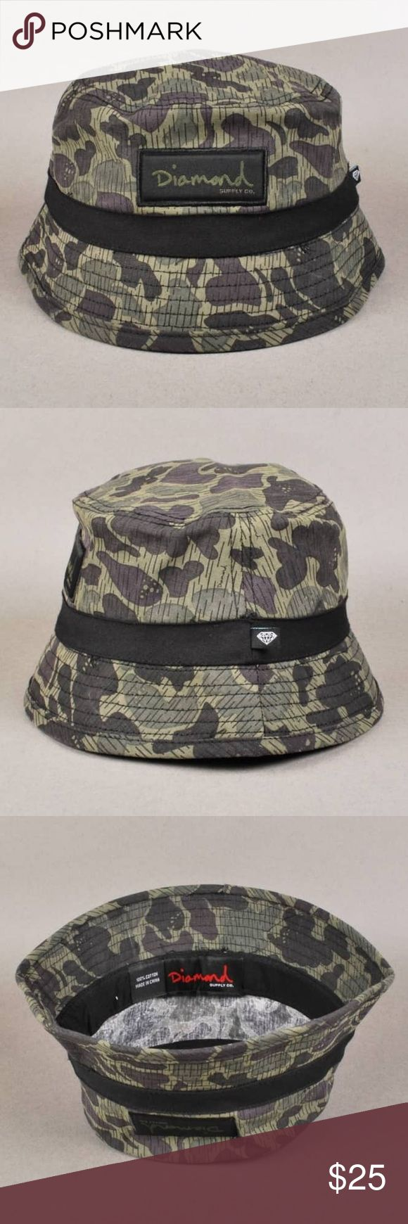 💎 Camo Bucket Hat Brand new never worn diamond supply co rain camo bucket hat - these retail for $40+shipping and tax, nice relaxed fit will fit anyone! Diamond Supply Co. Accessories Hats