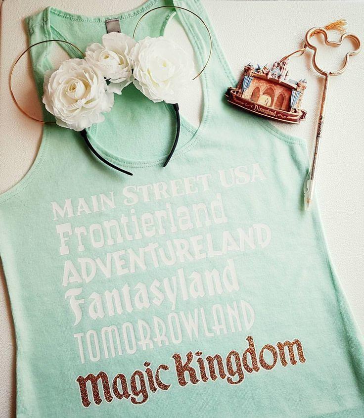 "Magic Kingdom Lands Tank - Main Street USA, Frontierland, Adventureland, Fantasyland, Tomorrowland, Magic Kingdom!!  Great for Disney Vacation!   (@deepintheheartofdisneytees) on Instagram: ""It's always tank top weather in Florida.  Our Magic Kingdom ""Lands"" tank is perfect with these…"""