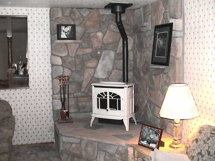 Corner wood stove ideas white enviro windsor connected - Wood stove ideas living rooms ...