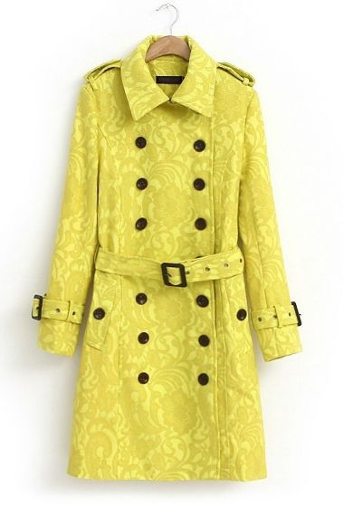 Yellow Lace Double-breasted Outerwear