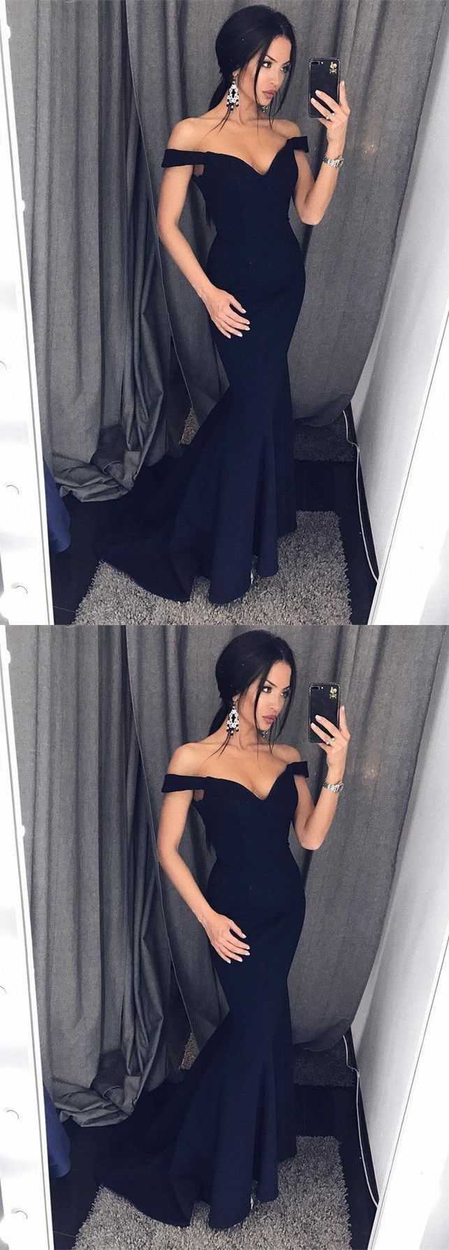 Sexy Mermaid Off-Shoulder Black Satin Long Prom Dr… - Prom shopping is alive and well on Pinterest. Compare prices for this @ Wrhel.com before you commit to buy. #Prom