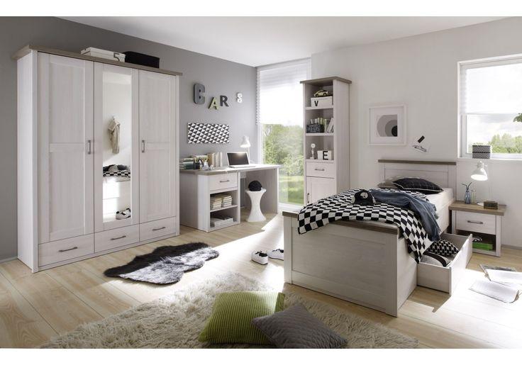 Jugendzimmer mit Bett 90 x 200 cm Pinie Weiss/ Trüffel Woody 62-00207