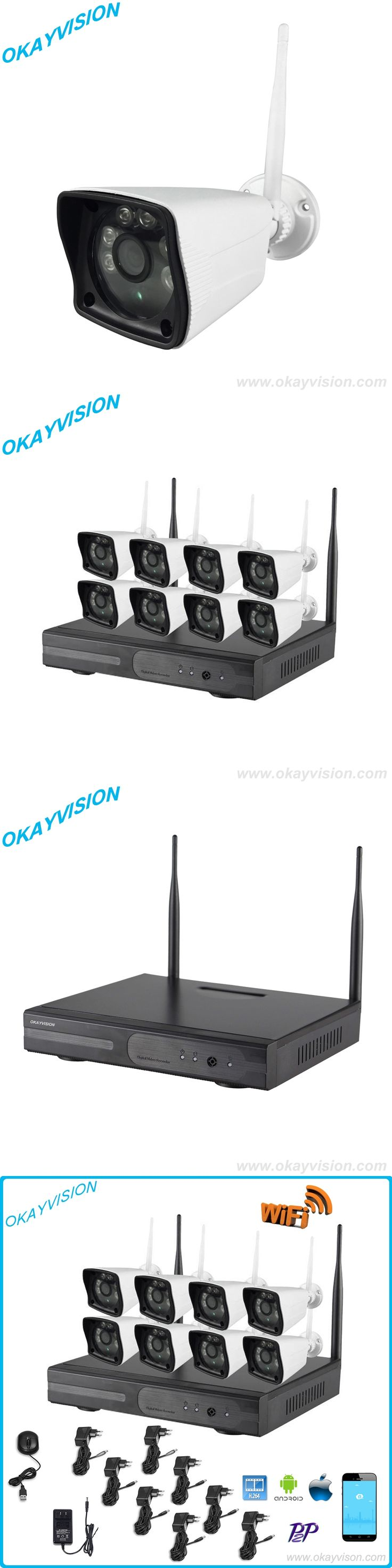 Free shipping for 8CH 1080P Wireless NVR Set 8pcs P2P WIFI IP Camera Outdoor Home Security CCTV System Video Surveillance KIT