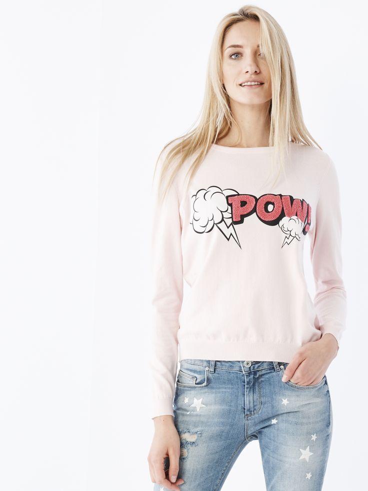 Dopasowany sweter z nadrukami, SWETRY, BLUZY, rÓŻowy, MOHITO