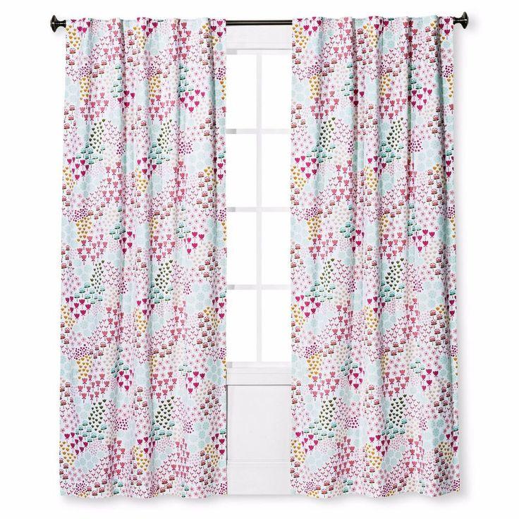 Twill Light Blocking Floral Print Curtain Panel Apricot