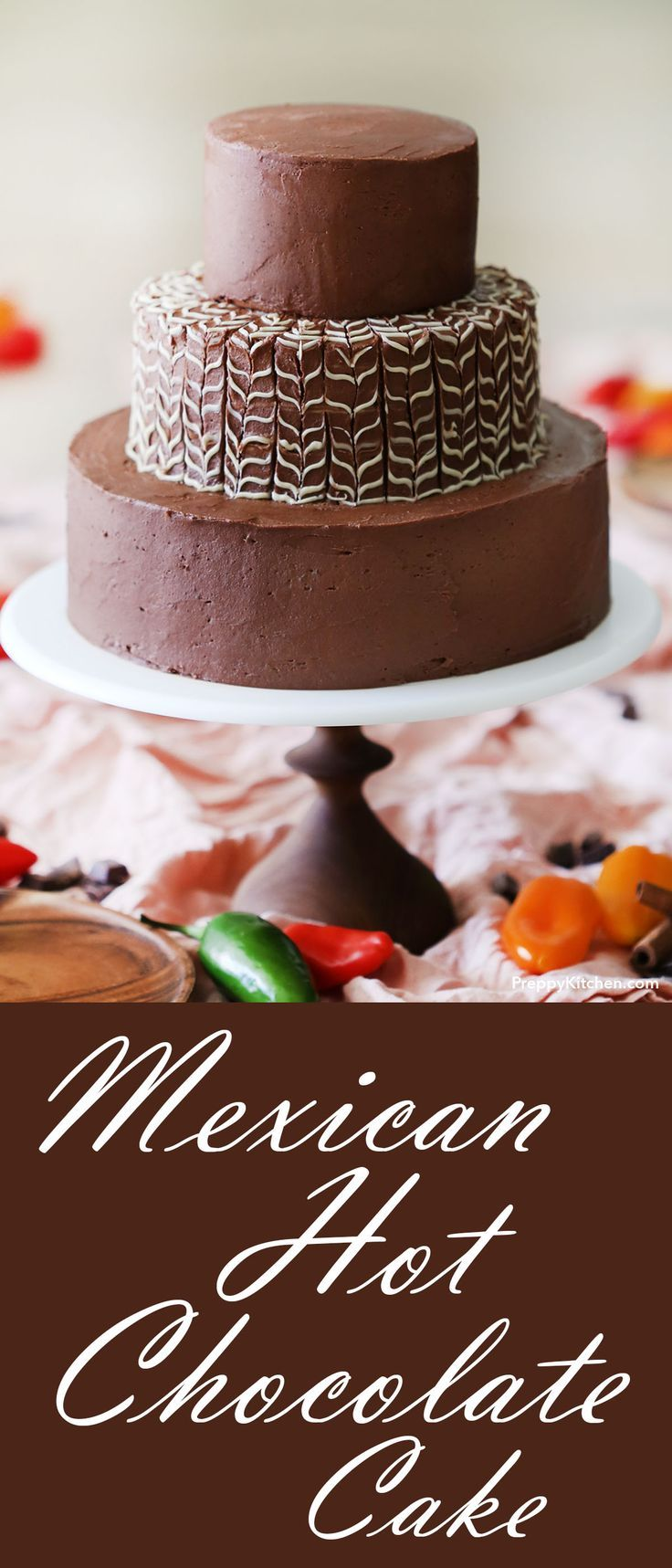 The easiest Mexican Hot Chocolate Cake - A decadent twist on the classic drink recipe. It has browned butter frosting, and espresso. Its the best spicy dessert recipe #mexicandessert #spicydesserts #cakes Cake recipes, unique cakes, easy cakes