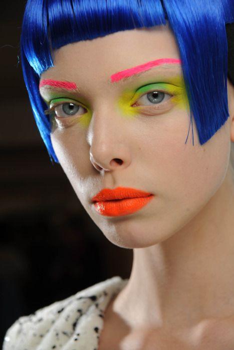 Neon makeup - Manish Arora AW 2010/11 via Naomi Dame via Natasha Tontey. Well. That's ridiculous.