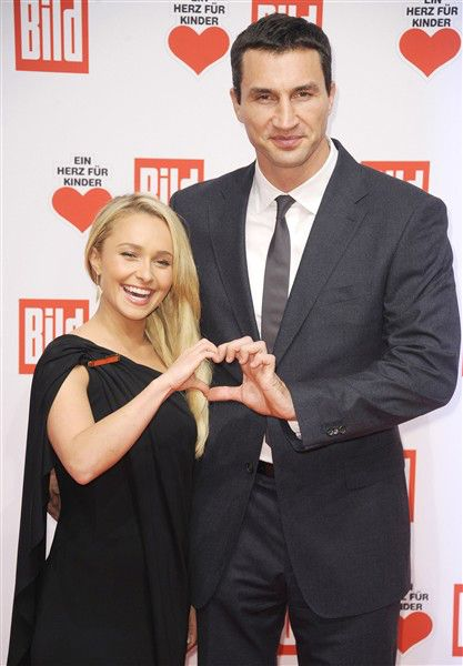 """Hayden Panettiere and Wladimir Klitschko arrive at the """"A Heart for Children"""" charity gala held in Hangar 6 at Tempelhof Airport in Berlin on Dec. 7, 2013.RELATED: Surpprising Celeb Relatives"""