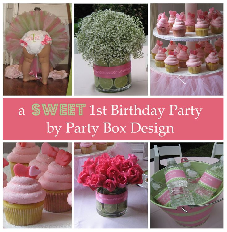 pink and green first birthday party