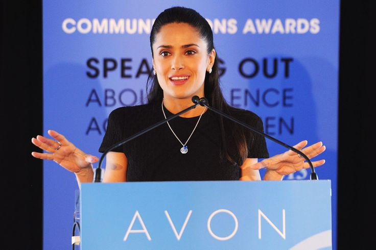 Avon Foundation Ambassador Salma Hayek Pinault addressed global women?s rights leaders before presenting the 2nd Avon Communications Awards: Speaking Out About Violence Against Women at the United Nations Headquarters on March 7, 2013 in New York City.