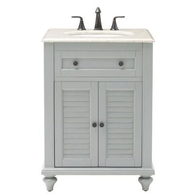 Home Decorators Collection Hamilton 25 in. W Shutter Vanity in Grey with Granite Vanity Top in Grey with White Basin - 7402000270 - The Home Depot