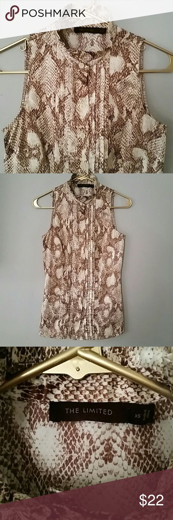 The Limited snakeskin top Sleeveless button down silky blouse The Limited Tops Button Down Shirts