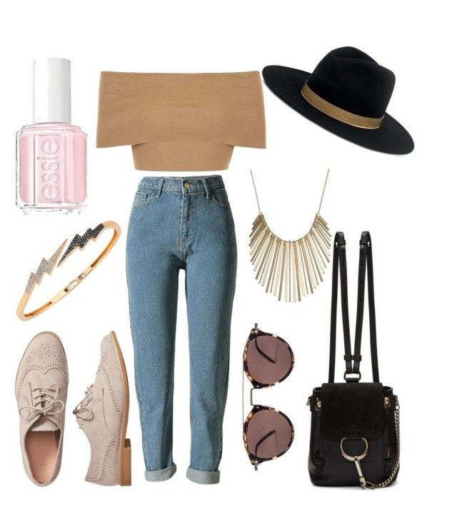 """Untitled #127"" by bee100 on Polyvore featuring Blue Vanilla, Gap, Chloé, Oliver Peoples, Jennifer Lopez, Janessa Leone, Bee Goddess and Essie"
