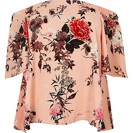 Plus pink floral print bardot top $56.00