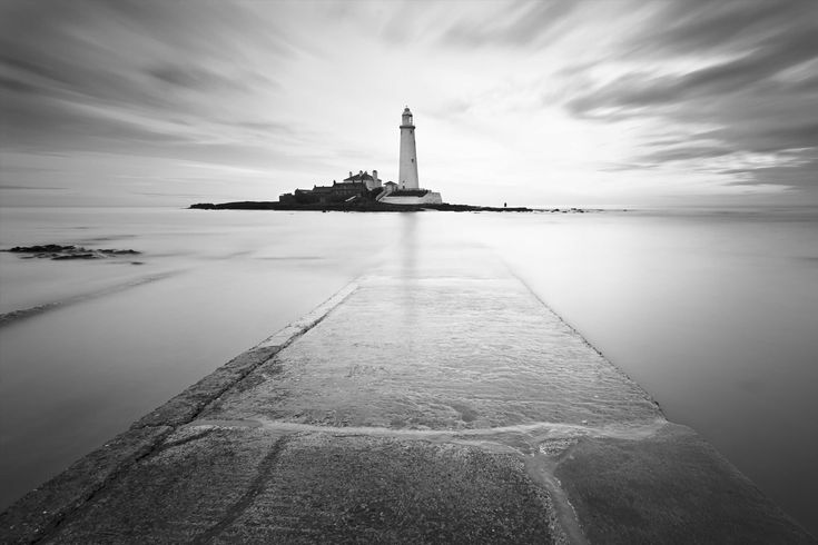 Black and White Lighthouse Wall Mural, custom made to suit your wall size by the UK's No.1 for murals. Custom design service and express delivery available.