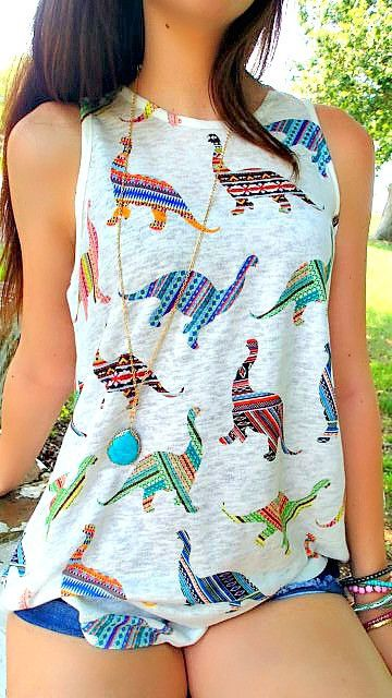 Childish twists #tanktop I used to have a shirt a few years ago that had a plethora of dinos on it. I need a new one!