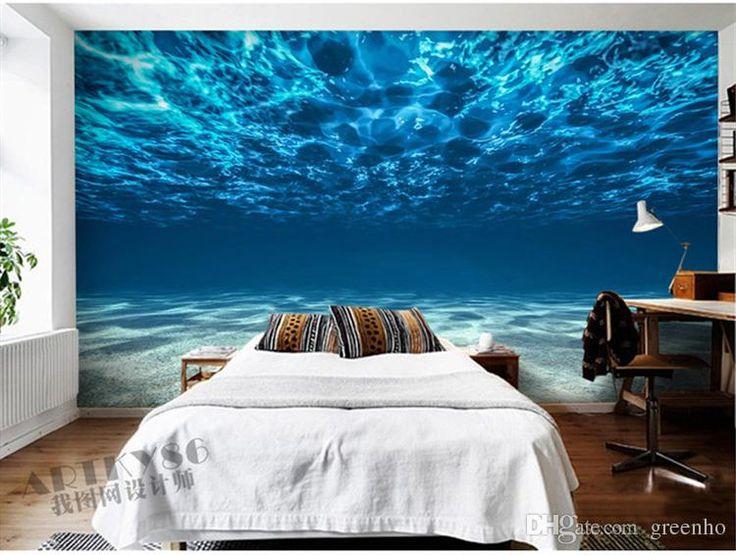 habitación Inicio encanto del mar profundo del océano fotografía de fondo de encargo del paisaje papel pintado grande mural de la pared pintura sitio de la decoración de la pared del arte de seda Habitación niños