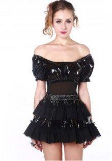 Multi-levels PVC Mini Skirt