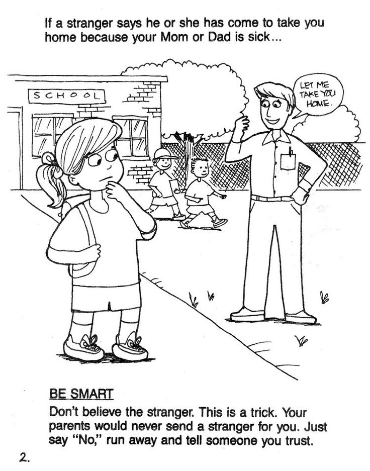 stranger safety coloring page
