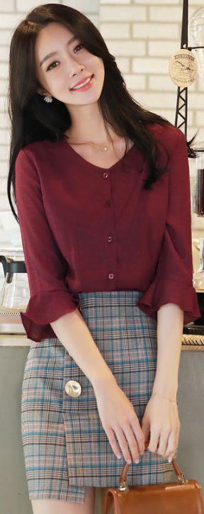 StyleOnme_Check Print Gold Button Detail Skirt #check skirt