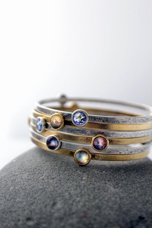 Stackable Bracelets- Galaxy Space stacked Bangles – Universe Jewelry – Petite Solar System Planet and Nebula Bracelet – Space JewelleryOnlyBracelet