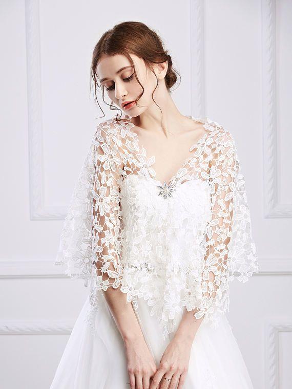 Bridal Lace WrapBridal Shawl Lace Wedding ShawlIvory
