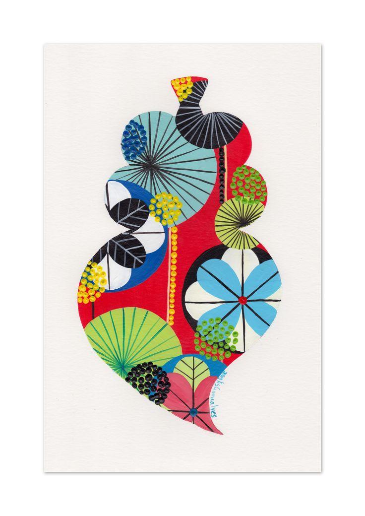 Coração de Viana, Viana heart. A4 fine art print. #patterns #heart #colour #print #acrylic #black #portugueseheart #nature #leaves #red #green #yellow #japonese #illustration