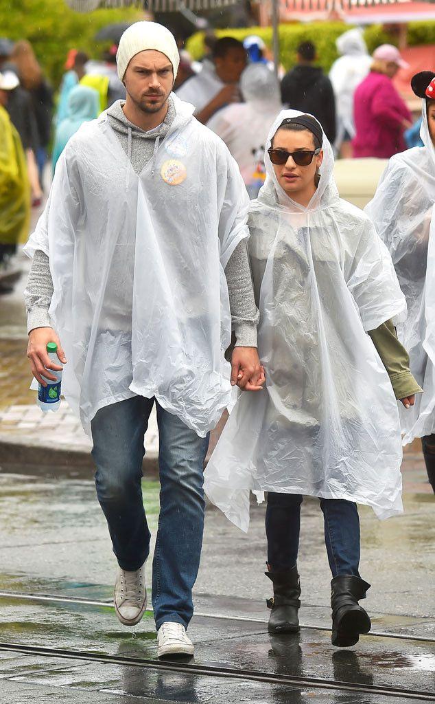 Lea Michele and Boyfriend Matthew Paetz Didn't Let the Rain Ruin Their Disneyland Date  Lea Michele, Matthew Paetz, Disney
