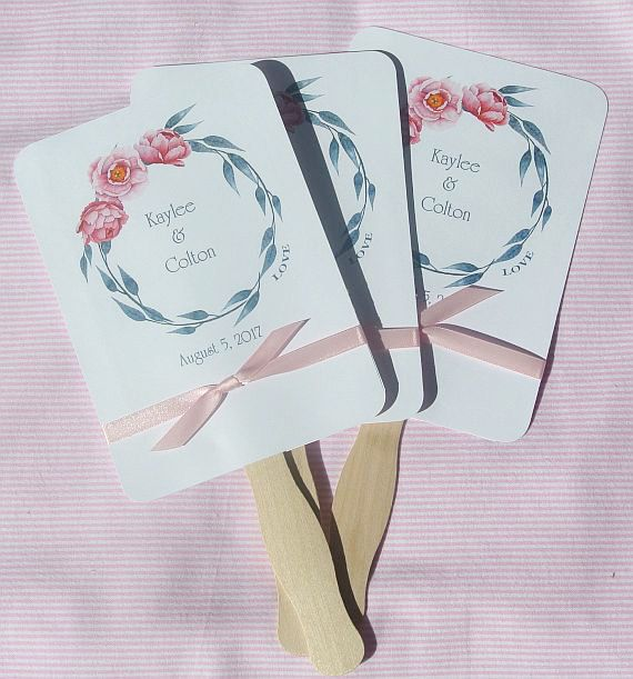 Wedding Fans for a pink wedding by abbey and izzie designs