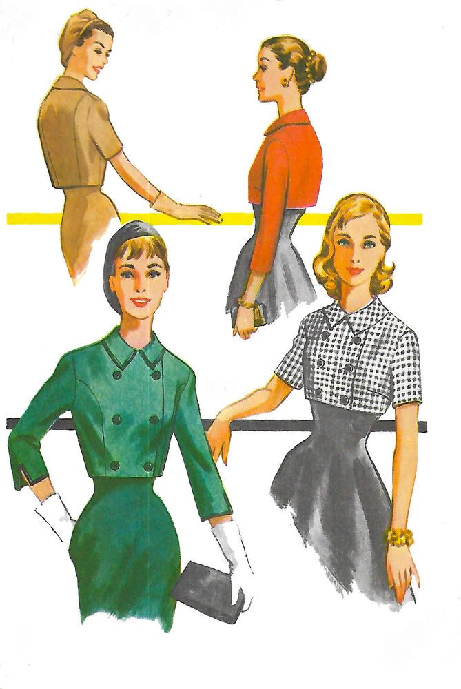 "Vintage 1950's Sewing Pattern Cropped Jacket Set Rockabilly  B 36"" Reproduction #VogueSpecialDesign"