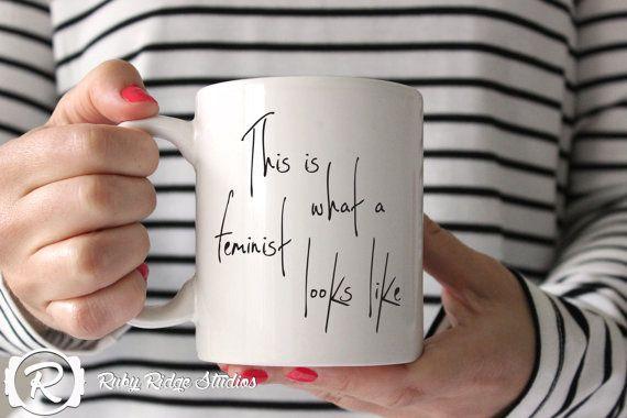 This is what a feminist looks like Quote Mug, Coffee Lovers Mug, Coffee Cup, Hand Drawn Calligraphy Coffee Mug Christmas Gift, Under 50