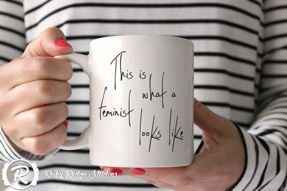 This is what a feminist looks like Quote Mug, Coffee Lovers Mug, Coffee Cup, Hand Drawn Calligraphy Coffee Mug Christmas Gift, Under 50