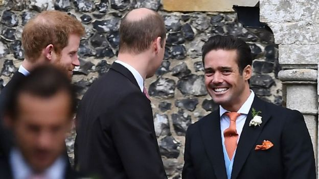 Spencer Matthews, brother of the groom, greets Britain's Prince William, Duke of Cambridge, and Britain's Prince Harry