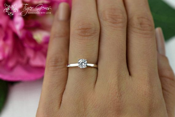 1/2 Carat Engagement Ring Classic Solitaire Ring by TigerGemstones