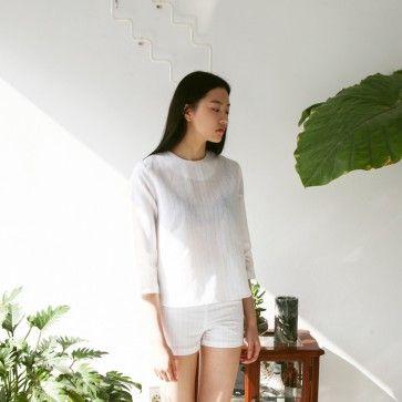 [Thin Stripe Set: White] A set of #top and #shorts featuring a #pinstripe pattern. Back zipper placket. Semi-sheer. #dress #dressset #seethrough #sheer #sexy #trendy #korean #fashion #fashion2ne
