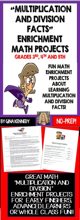 No-prep, multiplication and division facts enrichment projects! From writing the multiplying story that never ends, to creating recycled math games to even having a heyday with the division family your students will love these projects! Perfect math/writing integration. Great for advanced learners, early finishers and whole class fun. Students choose from five creative fun projects to challenge their knowledge of basic multiplication and division facts. $